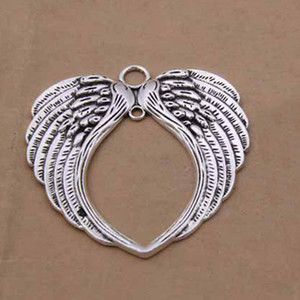 Wholesale alloy Angel Wings Heart Charms Antique silver Charms Pendant For necklace Jewelry Making findings x69mm