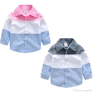 Wholesale Stylish INS Toddler Kids Boys Shirts Gentleman Patchwork Long Sleeve Tatting Cotton Polo Tshirts Spring Autumn Children Boys Casual Clothing