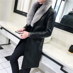 Fashion Long Fur Coat Leather Jackets Mens Leather Trench Coats With Big Fur Collar Collar Detachable Gabardina Hombre