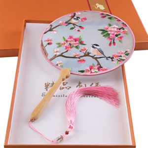 Famous Chinese Culture Silk Handmade Suzhou Embroidery Fan Double-sided Embroidery Flowers Fan Series With Gift Box Multi-Colors