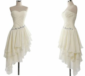 Wholesale Tea Length White Chiffon Elegant Homecoming Dresses Girl's Fashion Custom Bridal Gown Special Occasion Prom Bridesmaid Party Dress