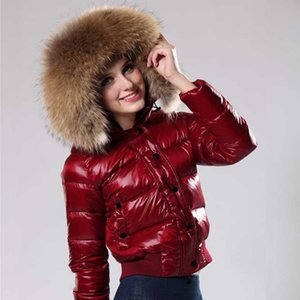 Wholesale 2019 French luxury women s winter down jacket short coats real Raccoon fur collar hoodies down coat Warm for Outdoor Coats Online Sale