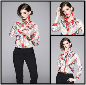 Wholesale Luxury Design Women s Fashion Spring Fall Slim Print Shirts Blouses Elegant Office Lady Sexy Button Front Print Collar Shirts Blouses