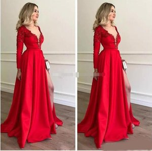 Wholesale 2019 Gorgeous Long Sleeve Evening Dresses Red Satin Plunge V Neckline High Thigh Split Applique Lace Prom Party Gowns