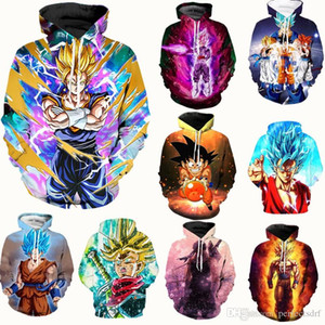 Wholesale 9 Colour S XL Dragon Ball Z Super Saiyan Goku Men Women Anime Pullover Hoodie Sweatshirt Long Sleeve Floral Casual Tops