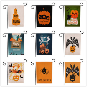 Wholesale 47 cm Halloween Garden Flag Decoration Flags Outdoor DIY Hanging Flags Pumpkin Bat Double Side Printed Flag Cotton Linen DHL