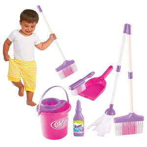 Kids Role Play Toys Housekeeping Cleaning Play Set Pink Broom Mop Bucket Dustpan Cleaning Brush Sweep Pretend Education Toys Kit