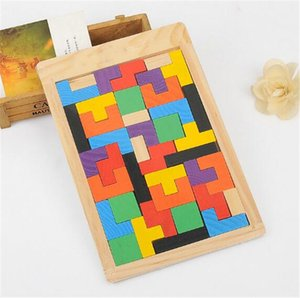 Wholesale Wooden Tetris Puzzle Jigsaw Intellectual Building Block and Training Toy for Early Education Children wood intellegence Toys B11