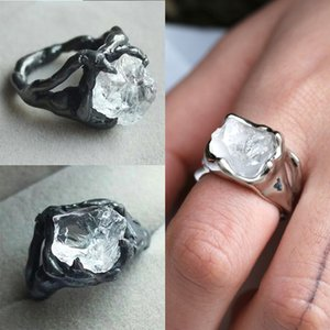 Wholesale 8 Large Transparent Irregular Crystal Hollow Cut Beautiful Ring Unique Creative Personality Exaggerated Rings Jewelry For Men