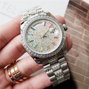 Wholesale New Arrivals Women mm Automatic Watch Full diamond Lady Steel Chain Watches Luxury Mechanical Clock Fashion Designer Watch