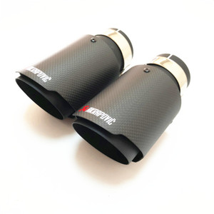 Promotion: 1 Pair Akrapovic Car Exhaust Tail Pipes Carbon Muffler Tip Tail End Universal Stainless Steel Straight Flange black on Sale