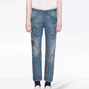 Made in Italy Embroidery Blue Jeans Patch Fashion Vintage Straight Casual Denim Pants Streetwear Mens Women Jeans Pant New Style HFLSKZ105