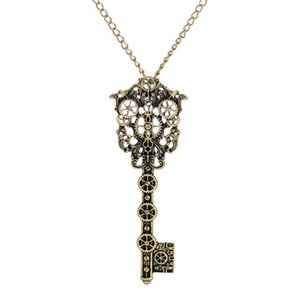 Wholesale Fashion Vintage Victorian Filigree Skeleton Key Watch Gear Cog Steampunk Chain Pendant Necklace