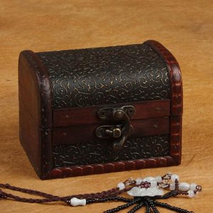 Wholesale Vintage Style Fresh Simple Small Wood Jewelry Box Treasure Ring Necklace Bracelet Holder Case Multi function Jewelry Storage Box