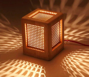 Creative Fashion Square Wooden Desk Lamp . Perforated E27 Contracted Personality Bed Room Wood Table Lamps LLFA on Sale