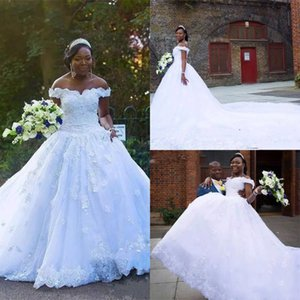 Wholesale black white bridal dresses for sale resale online - Nigeria White Plus Size Lace Wedding Dresses Off The Shoulder A Line Beaded Appliques Country Garden Bridal Gowns for sale Court Train