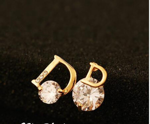 Real Rose Gold Zircon Earring Brand Design High Quality Crystal Fema Earrings Women Allergy Free Letter D Earrings