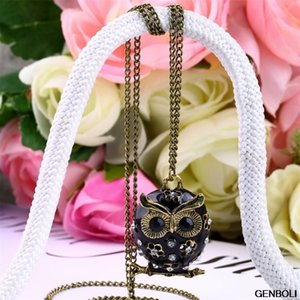 Wholesale Vintage Necklace Cute Enamel Crystal Rhinestone Owl Pendant Long Sweater Necklace Clearance drop shipping