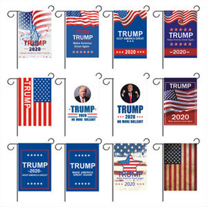 Wholesale 30 cm Trump Garden Flag Outdoor Decorate USA President General Election Banner Trump Flag Pennant Banner Flags ZZA1078