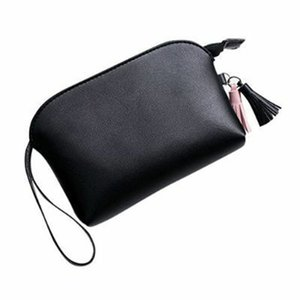 Wholesale Women Purse Zipper Casual Card Holder Wrist Strap Portable PU Leather Solid Mini Handbag Short Tassel Pendant Multifunctional