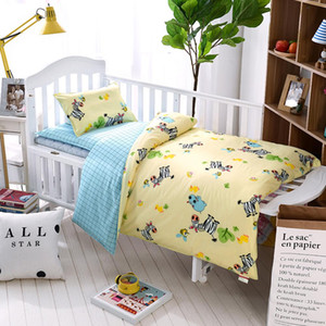 Wholesale 3 Set Baby Bedding Set Pure Cotton Zebra Bee Pattern Crib Kit Including Pillowcase Duvet Cover Cot Flat Sheet
