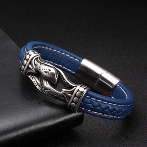 Wholesale Men Women Fashion Sporty Charm Genuine Leather Bracelet homme Vintage Handcuffs Stainless Steel Chain Link Cuff Bracelets