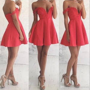 V-Neck Off The Shoulder Homecoming Party Dresses Mini Short 8th Grade Graduation Dresses Sweet 16 Dresses Vestido De Fiesta on Sale