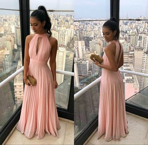 Wholesale Sexy Backless Pink Chiffon Cheap Prom Dresses Long Arabic Evening Gowns Simple Special Occasion Party Dresses vestidos de fiesta Robe