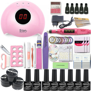UV Nail Lamp Manicure Set Choose 6 Colors Gel Polish Base Top Coat Nail Kits Extension UV Gel Kit Electric Manicure Handle Kit