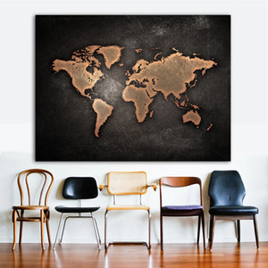 Wholesale canvas map wall resale online - Wall Canvas Prints Painting Pieces Black Map Home Decoration Pictures Modular Framework For Bedside Background Poster Artwork
