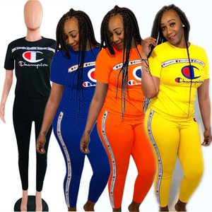Sportswear Champion Tracksuit Women Clothes Suits Boutique T shirt + Pants Outfit Summer 2 Piece Sports Set A362