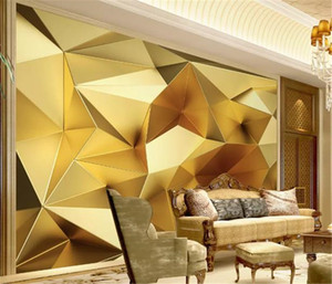 Wholesale Custom Wallpaper 3d Luxury Gold Geometric Polygon 3d Stereo European Living Room Bedroom Background Wall Wallpaper