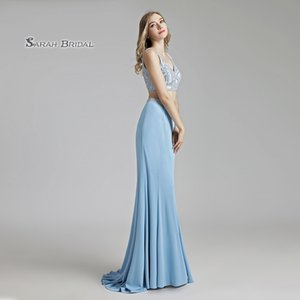 Luxury Crystal Mermaid Sky Blue Beading Two Pieces Prom Party Dress 2019 Sexy Elegant Beading Vestidos De Festa Evening Occasion Gown LX489 on Sale
