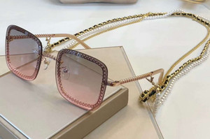 Wholesale Gold Pink Square Sunglasses Gold Necklace Pearls Sonnenbrille Women Designer Sunglasses Holiday Eyewear New wth box