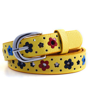 Wholesale Girl Gift Hollow Butterfly Flowers Children Boys Girls Lace Belt Brand PU Leather Belts Waistband