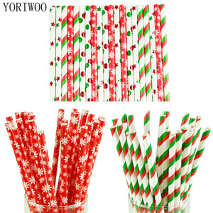 Wholesale YORIWOO Paper Drinking Straws Snowflake Paper Straw Merry Christmas Decoration For Home Happy New Year Party Tableware Red