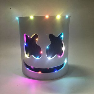 Wholesale Party Dj Marshmallow Mask Fashionable Led Light Mask Halloween Party Costumes Eva Full Head Marshmallow Helmet Cosplay Costume