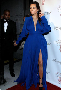 Wholesale white red carpet dress kim kardashian for sale - Group buy 2018 Elegant Style V neck Long Sleeves Side Slit Royal Blue Chiffon Formal Evening Gowns Kim Kardashian Red Carpet Celebrity Dresses