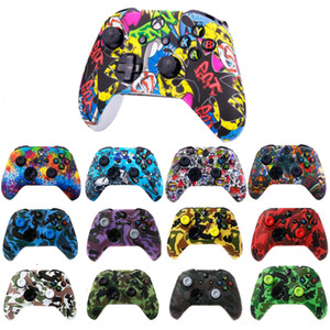 Wholesale xbox one new resale online - New Camouflage Silicone Protective Skin Case Water Transfer Printing Cover Grips Caps for XBox One X S Controller Protector