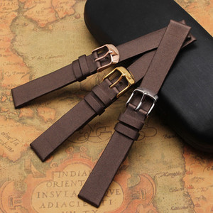 Wholesale dry needle resale online - High Quality Spun silk Genuine Leather Watchband brown bracelets soft mm mm mm mm mm Ladies Replacement Watch Strap
