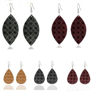 Trendy PU Waterdrop Leather Earrings Colorful Leaf Shape Teardrop Dangle Earrings Light Weight Leather Earring For Women Elegant Young Girl