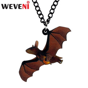 Wholesale WEVENI Acrylic Halloween Anime Flying Bat Necklace Long Choker Costume Cartoon Festival Jewelry Women Girl Teen Kid Fashion Gift