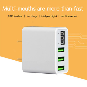 LED Display EU US 3 Port USB Charger 3A Mobile Phone USB Charger Fast Charging Wall Charger For iPhone 6 Samsung Xiaomi LG on Sale
