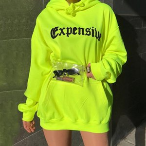Wholesale Spring Autumn Women Casual Sweatshirt Trendy Loose Pocket Streetwear Hooded Neon Green Letter Print Long SleeveTrend Clothes
