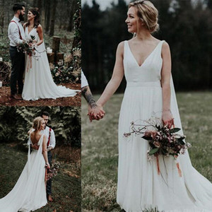 A-Line Chiffon Beach Wedding Dresses 2020 New Hot Selling Custom Sweep Train Pleats Deep V-Neck Backless Bridal Gowns Robe De Mariage W983 on Sale