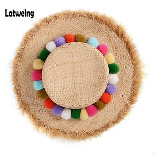Wholesale NEW Handmade Colorful Pom Pom Raffia Straw Sun Visor Hats For Women Lady Foldable Summer Panama Cap Wide Large Brim Beach Hat