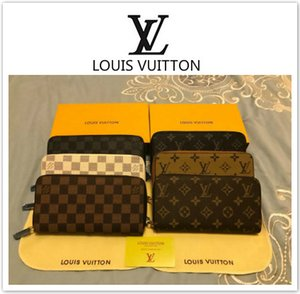 Wholesale New Hot LOUIS VUITTON gucci Leather SUPREME ZIPPY WALLET VERTICAL carry around money cards and coins men purse card BOX