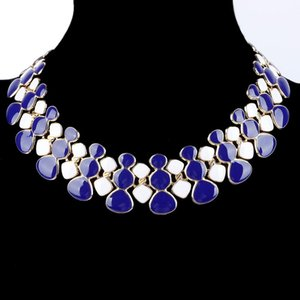 Wholesale Gem Statement Necklace Collares Red Black Blue White Gold Enamel Maxi Chain Collar Choker Necklaces For Bijoux Femme Women kolye