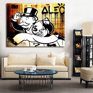 Wholesale Black and white graffiti Painting Alec Monopolyingly Canvas Painting Picture abstrat Poster And Print Decorative For Living Room Home Decor