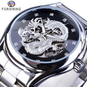 Wholesale dragon water resale online - Forsining Classic Dragon Design Silver Stainless Steel Diamond Display Men Automatic Wrist Watches Top Brand Luxury Montre Homme